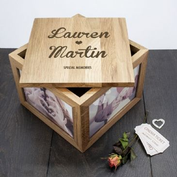 Oak Photo Keepsake Box Couple Name and Heart